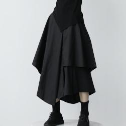 Ukawaii 不規則 ファッション 切り替え ハイウエスト Aライン 着瘦せ ロング スカート