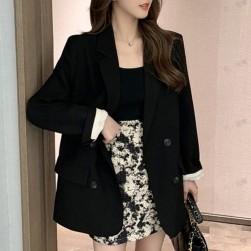 Ukawaii デザイン性抜群 ポリエステル 無地 シンプル 切り替え 折襟 スーツ