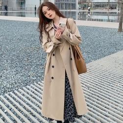Ukawaii 定番 レトロ ファッション ダブルブレスト ベルト付き 長袖 ロング トレンチコート