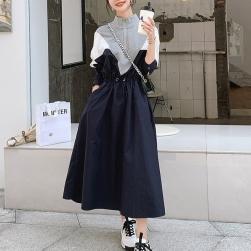 Ukawaii 絶対流行 カジュアル ファッション 切り替え 配色 ウエスト締め ロングワンピース
