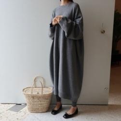 Ukawaii 主役級 ゆったり ファッション 韓国風 長袖 カジュアル ニットワンピース