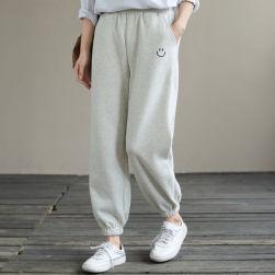 Ukawaii 今季マストバイ カジュアル ハイウエスト 切り替え レギュラー丈 刺繍 カジュアルパンツ