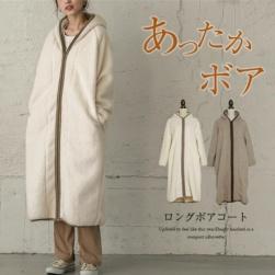 Ukawaii 絶対欲しい 着回し力抜群 スウィート ポケット付き ジッパー フード付き スエード すね丈 コート