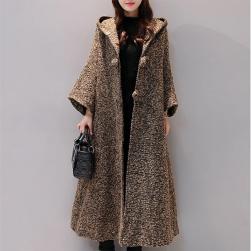 Ukawaii 秋冬ファッション韓国系無地長袖膝下丈フード付きコート