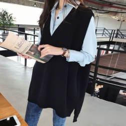 Ukawaii 超目玉 韓国 長袖 折り襟 シャツ+Vネック プルオーバー ベスト 二点セット
