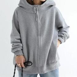 Ukawaii 欠かせない カジュアル シンプル 無地 ゆったり フード付き 長袖 ジャケット