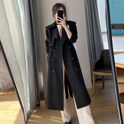 Ukawaii 韓国風ファッション 定番 無地 ダブルブレスト ベルト付き 高級感 トレンチコート