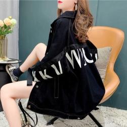 Ukawaii 韓国風ファッション アルファベット プリント ゆったり コットン 長袖 ジャケット