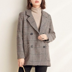 Ukawaii 人気集中アイテム レトロ ファッション チェック ダブルブレスト ベルト付き スリット スーツジャケット