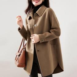 Ukawaii 大人 人気を独占中 折り襟 長袖 通勤 厚手 レディース コート