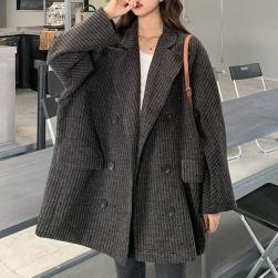 Ukawaii おしゃれ度アップ ファッション ダブルブレスト ストライプ柄 切り替え 折襟 コート