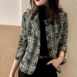 Ukawaii 大人 通勤 ファッション 配色 長袖 レディース ショート丈 コート
