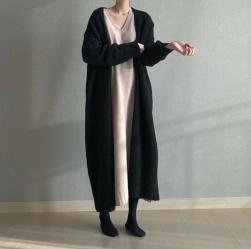 Ukawaii 相性抜群ファッションシンプルルーズ長袖ロング無地ニットカーディガン