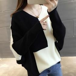 Ukawaii 元気いっぱいファッション配色ニット長袖切り替えカジュアルトップス