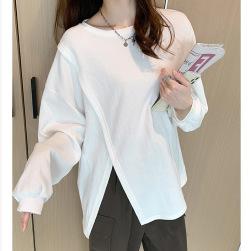 Ukawaii 簡約 カジュアル 長袖 無地 スリット レディース Tシャツ