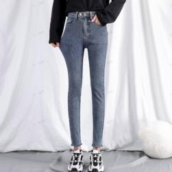 Ukawaii 今季マストバイ ファッション カジュアル ハイウエスト 無地 レギュラー丈 デニム タイトパンツ