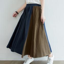 Ukawaii 定番シンプル レトロ ハイウエスト 切替え ロング Aライン スカート