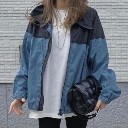 Ukawaii 売れ筋 カジュアル 切り替え 配色 ジッパー 折り襟 レディース ジャケット