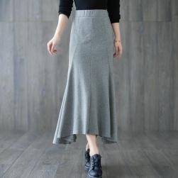 Ukawaii 超目玉アイテム フェミニン 清新 無地 ストレート ロング 不規則 スカート