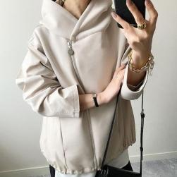 Ukawaii 今季マストバイ ファッション ジッパー 無地 長袖 切り替え ジャケット
