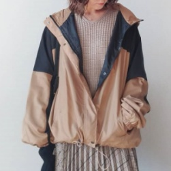 Ukawaii 好感度UP 配色 フード付き 長袖 レディース ジャケット