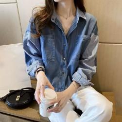 Ukawaii 韓国風ファッション ストライプ 切り替え ゆったり 配色 ファッション 長袖 シャツ アウター