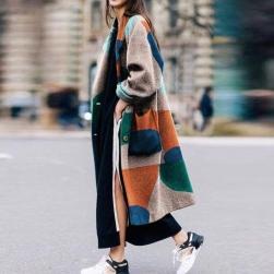 Ukawaii 早いもの勝ち ファッション 配色 シングルブレスト ロング 折り襟 レディース コート