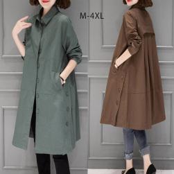 Ukawaii 簡約 カジュアル 大きいサイズ 長袖 無地 折り襟 レディース トレンチコート