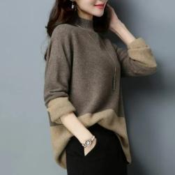 Ukawaii 絶対欲しい 高級感 ハイネック 長袖 配色 4色展開 M-3XL レディース ニット セーター