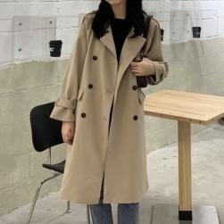 Ukawaii ファッション ダブルブレスト 無地 長袖 折り襟 春秋 コート