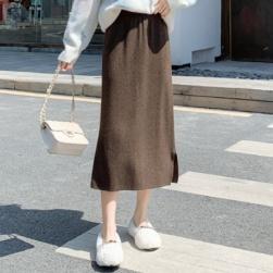 Ukawaii 気質アップ シンプル ハイウエスト 無地 スリット すね丈 スカート