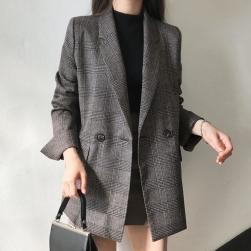 Ukawaii 人気を独占中♡ シンプル ダブルブレスト チェック柄 ショート丈 長袖 スーツ