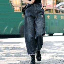 Ukawaii 上品なシルエット シンプル OL ハイウエスト レギュラー丈 デニム カジュアルパンツ