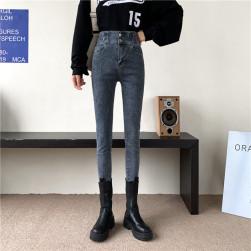 Ukawaii 流行の予感 ファッション キャンパス 無地 ハイウエスト レギュラー丈 デニム タイトパンツ