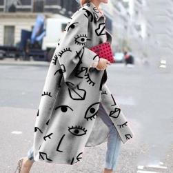 Ukawaii 上品さたっぷり ファッション シングルブレスト プリント 折り襟 レディース コート