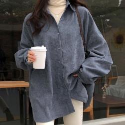 Ukawaii 今季注目 シンプル シングルブレスト 無地 長袖 春秋 POLOネック ブラウス・シャツ