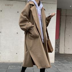 Ukawaii 気質アップ カジュアル 無地 ラシャ ロング 折襟 コート