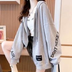Ukawaii 韓国風ファッション アルファベット プリント ゆったり フード付き 大きいサイズ ジャケット