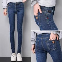Ukawaii 上品さたっぷり 超人気美脚のズボン ファッション無地ハイウエスト弾力いいコンシールファスナーデニムパンツ