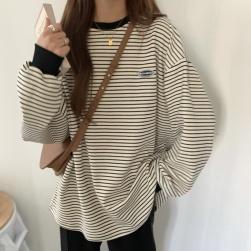 Ukawaii 今季マストバイ!シンプル カジュアル ストライプ柄 ラウンドネック 長袖 Tシャツ