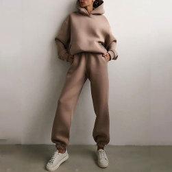 Ukawaii 売れ筋 カジュアル フード付き 長袖 パーカー+ 着瘦せ 無地 パンツ 2点セット