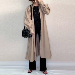 Ukawaii 人気新作 シンプル 無地 ゆったり 折襟 膝下丈 長袖 おしゃれ トレンチコート