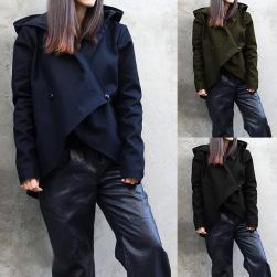 Ukawaii 人気集中アイテム 3色展開 ボタン付き 無地 フード付き 長袖 ジャケット
