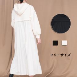 Ukawaii 早い者勝ち ファッショ ンフード付き 背中ギャザー飾り 長袖 プリーツ カジュアルワンピース
