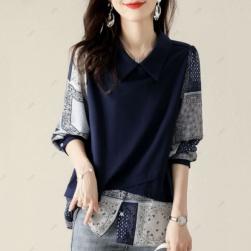Ukawaii 好感度UP プルオーバー 配色 切り替え プリント 折り襟 ファッション 長袖 Tシャツ