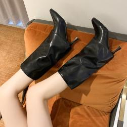 Ukawaii 22.5-24.5cm 品質いいな新品 流行 ファッション ポインテッドトゥ ピンヒール ミドル丈ブーツ