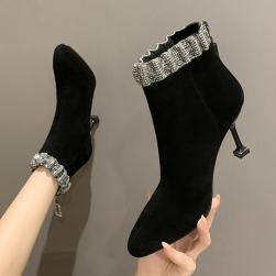 Ukawaii 22-24.5cm 美人度アップ キラキラ ファッション レトロ ポインテッドトゥ ピンヒール ブーツ