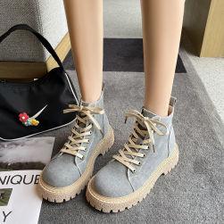 Ukawaii 目を奪われる 通勤 帆布 編み上げ 春秋 プラットフォーム ショート丈ブーツ