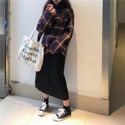 Ukawaii 気質アップ カジュアル チェック柄 アクリル生地 セーター + スリット ブラック スカート 2点セットアップ