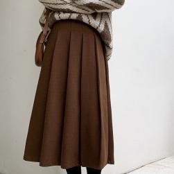 Ukawaii 人気集中アイテム スカート 無地 ハイウエスト シンプル カジュアル プリーツスカート